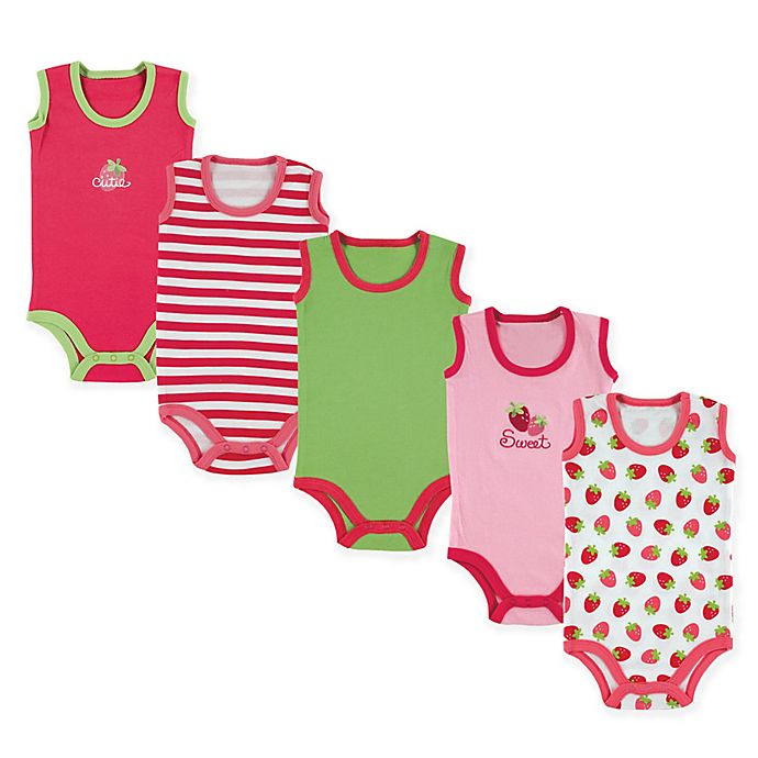 Alternate image 1 for Luvable Friends® 5-Pack Sleeveless Strawberry Bodysuits in Pink
