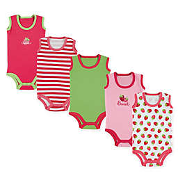 Luvable Friends® 5-Pack Sleeveless Strawberry Bodysuits in Pink