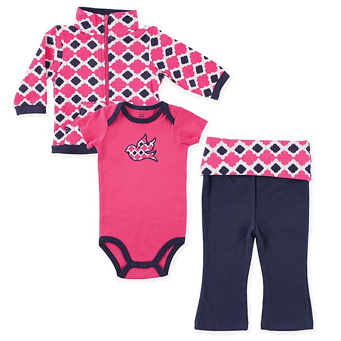 Alternate image 1 for Yoga Sprout 3-Piece Ikat Bird Jacket, Bodysuit, and Pant Set in Pink
