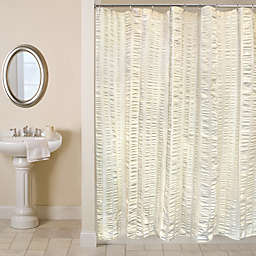 Metro Farmhouse Seersucker Bands Shower Curtain In Natural
