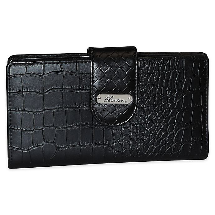 Alternate image 1 for Buxton® Everglades Matte Croco Super Wallet in Black