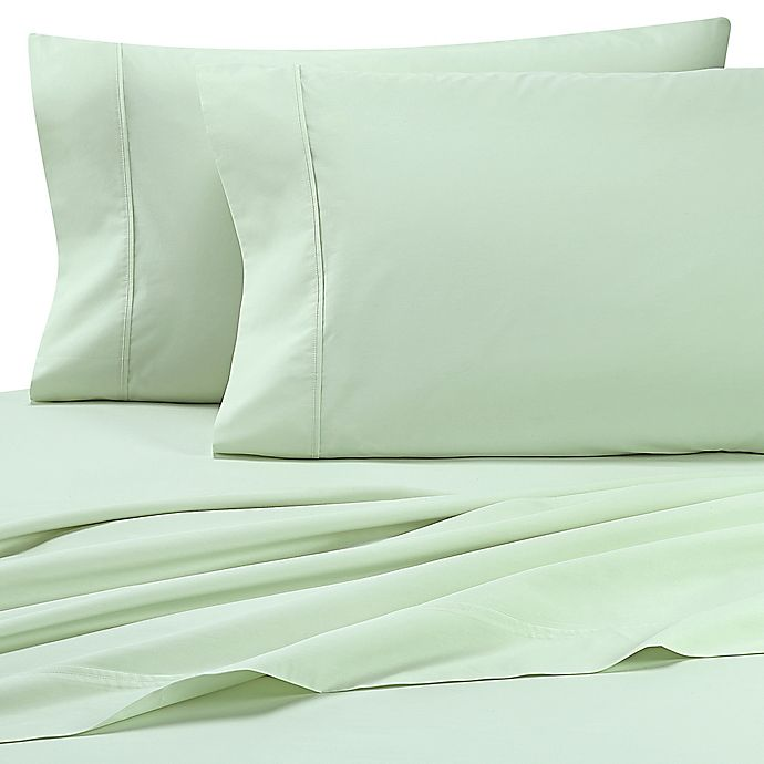 Alternate image 1 for Heartland® HomeGrown™ 325 TC Cotton Percale Queen Flat Sheet in Light Green