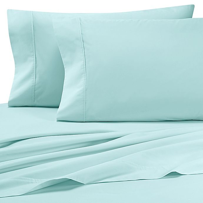 Alternate image 1 for Heartland® HomeGrown™ 325-Thread-Count Cotton Percale King Pillowcase in Aqua