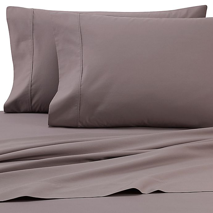 Alternate image 1 for Heartland® HomeGrown™ 325-Thread-Count Cotton Percale Full XL Fitted Sheet in Grey
