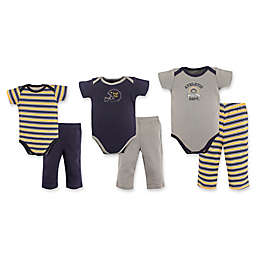 Hudson Baby® 6-Piece Grow with Me Football Bodysuit and Pant Gift Set in Yellow/Navy