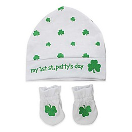 """Tiny Treasures """"My 1st St. Patty's Day"""" Hat and Mitt Set in Green/White"""