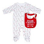 Sterling Baby Size 9M  Stealing Hearts Like Cupid  2-Piece Bib and Footie Set in Red/Grey