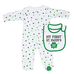 """Sterling Baby """"My First St. Paddy's Day"""" 2-Piece Bib and Footie Set in Green/White"""