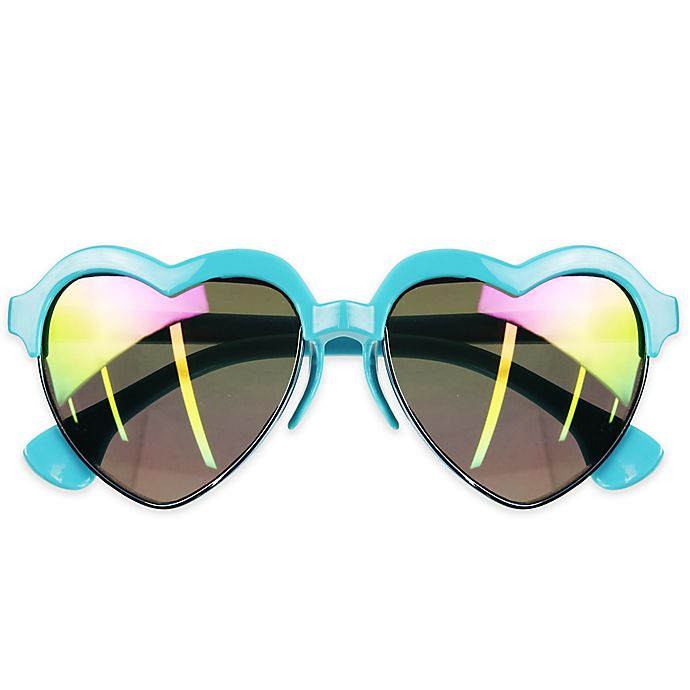 Alternate image 1 for Tiny Treasures Heart Toddler Sunglasses in Turquoise