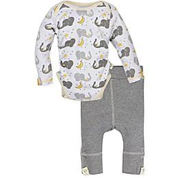 MiracleWear 2-Piece Posheez Snap 'n Grow Elephant Long-Sleeve Bodysuit and Pant Set in Grey