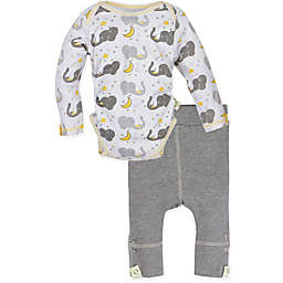 MiracleWear® Size 0-6M 2-Piece Posheez Snap 'n Grow Elephant Long-Sleeve Bodysuit and Pant Set