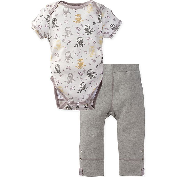 Alternate image 1 for MiracleWear® Size 18-24M 2-Piece Posheez Snap 'n Grow Forest Owl Bodysuit and Pant Set in Grey
