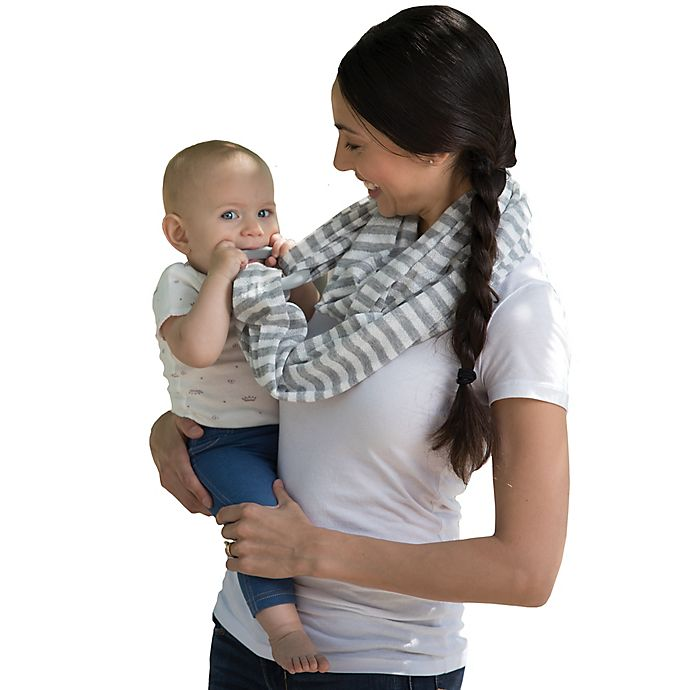 Alternate image 1 for Boppy™ Teething Scarf in Grey/White Stripes