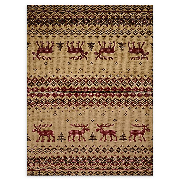 Alternate image 1 for United Weavers Embroidered Moose 9' x 12' Area Rug in Natural