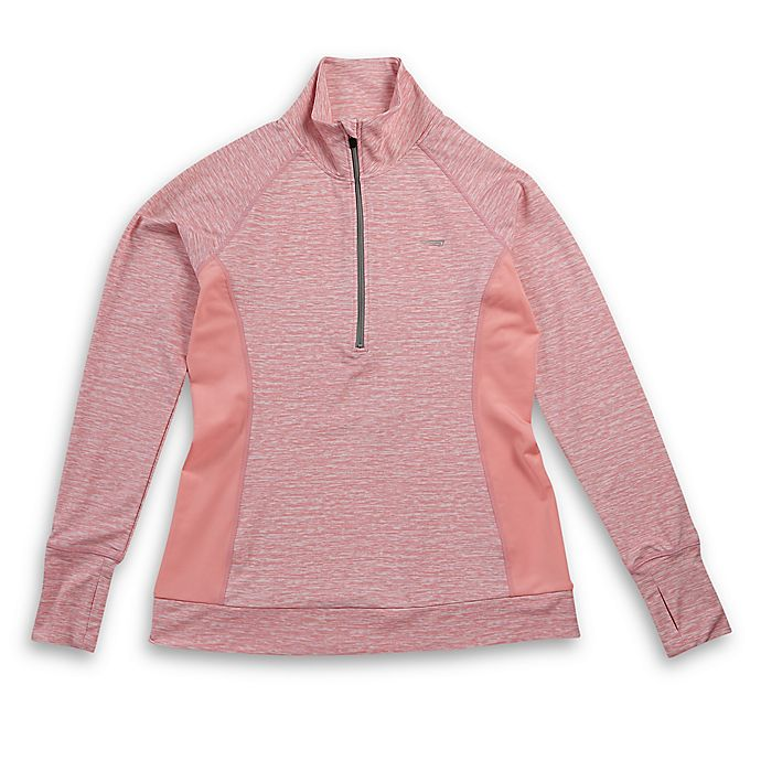 Alternate image 1 for Copper Fit® Quarter-Zip Mock Neck Small T-Shirt in Pink