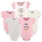 Hudson Baby® Size 12-18M 5-Pack  Heart of Gold  Short Sleeve Bodysuits in Pink/Gold