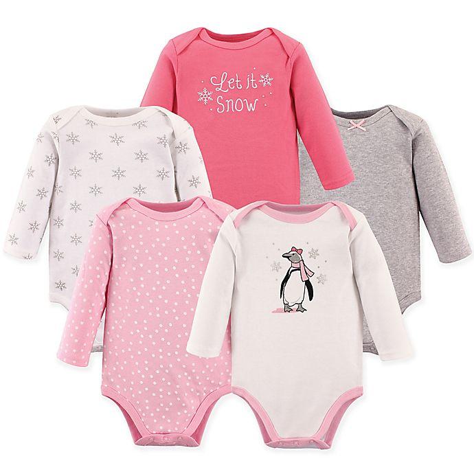 Alternate image 1 for Hudson Baby® 5-Pack Penguin Bodysuits in Pink