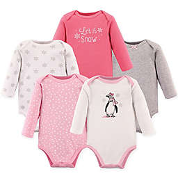 Hudson Baby® 5-Pack Penguin Bodysuits in Pink