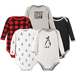 Hudson Baby® 5-Pack Long Sleeve Penguin Bodysuits
