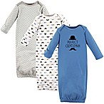 Hudson Baby® Size 0-6M 3-Pack Perfect Gentleman Gowns