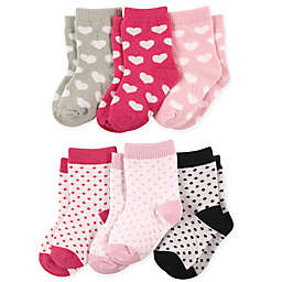 Luvable Friends® 6-Pack Hearts Crew Socks