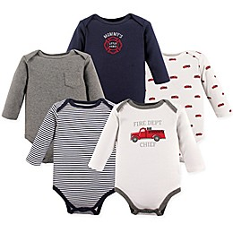 Hudson Baby® 5-Pack Fire Trucks Long Sleeve Bodysuits in Red