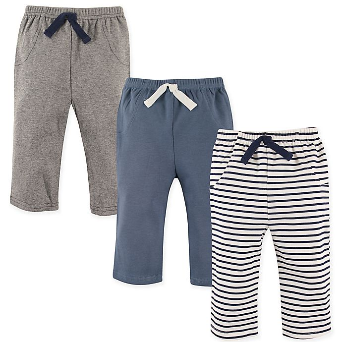 Alternate image 1 for Hudson Baby® Size 9-12M 3-Pack Pants in Blue