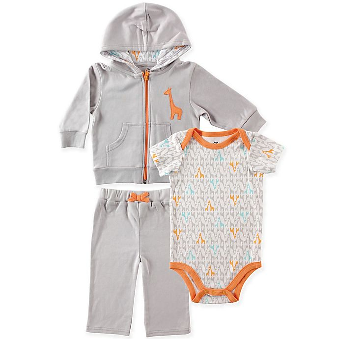 Alternate image 1 for BabyVision® Yoga Sprout Size 6-9M Giraffe Bodysuit, Hoodie and Pant Set in Grey