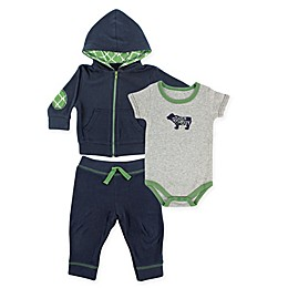 BabyVision® Yoga Sprout Bear Bodysuit, Hoodie and Pant Set in Navy