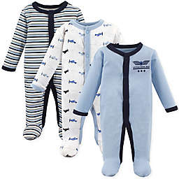 Luvable Friends® Preemie 3-Pack Airplanes Sleep & Play Bodysuits