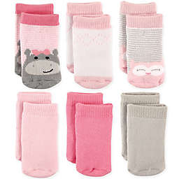 Luvable Friends® 6-Pack Hippo & Owl Terry Crew Socks