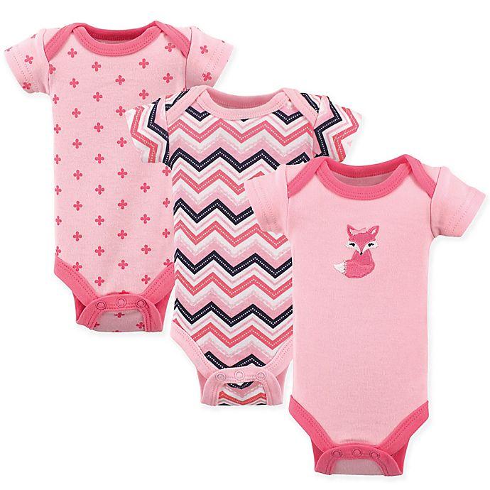 Alternate image 1 for Luvable Friends® Preemie 3-Pack Foxy Short Sleeve Bodysuits