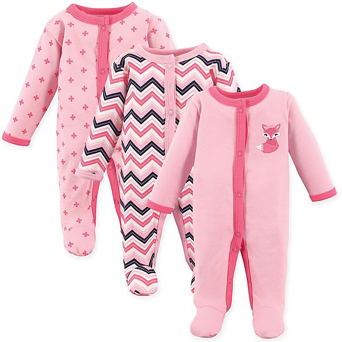 Alternate image 1 for Luvable Friends® Preemie 3-Pack Foxy Sleep & Play Bodysuits