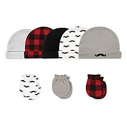 Hudson Baby Size 0-6M 8-Piece Mustache Cap and Scratch Mitten Set