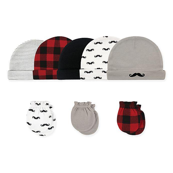 Alternate image 1 for Hudson Baby Size 0-6M 8-Piece Mustache Cap and Scratch Mitten Set