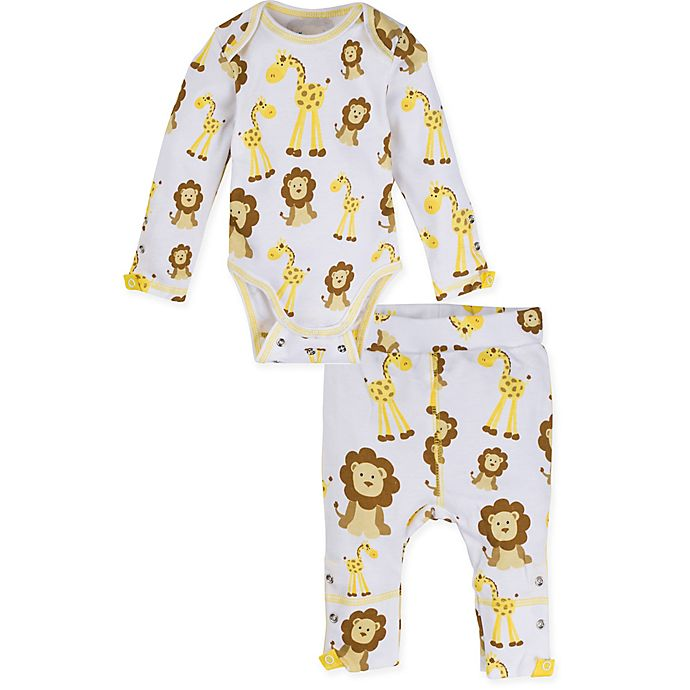 Alternate image 1 for MiracleWear® 2-Piece Snap 'n Grow Giraffe Bodysuit and Pant Set in Gold