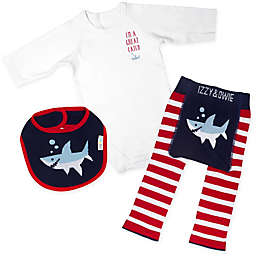 Izzy & Owie Size 6-12M 3-Piece Shark Long Sleeve Bodysuit, Legging and Bib Set in Red