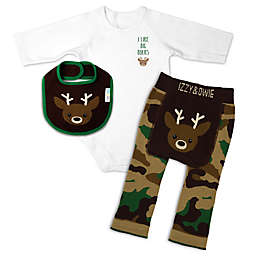 Izzy & Owie Size 6-12M 3-Piece Camo Deer Long Sleeve Bodysuit, Legging and Bib Set in Brown