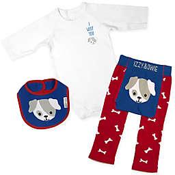Izzy & Owie Size 6-12M 3-Piece Puppy Long Sleeve Bodysuit, Legging and Bib Set in Blue