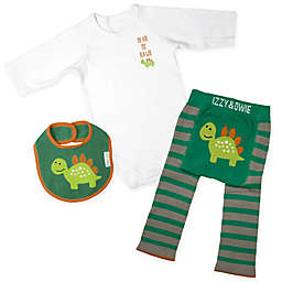 Izzy & Owie Size 12-24M 3-Piece Dino Long Sleeve Bodysuit, Legging and Bib Set in Green