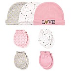 Hudson Baby® Size 0-6M 7-Piece Love Cap and Mitten Set in Light Pink/White