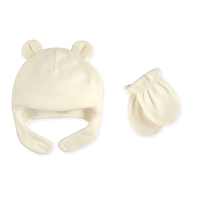 Alternate image 1 for Luvable Friends® Size 0-6M 2-Piece Bear Ears Fleece Hat and Mitten Set in Cream