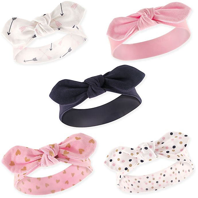 Alternate image 1 for Hudson Baby® 5-Pack Arrows and Hearts Headbands in Pink