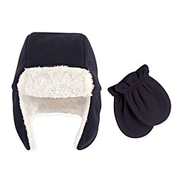 Hudson Baby 2-Piece Trapper Hat and Mitten Set in Navy