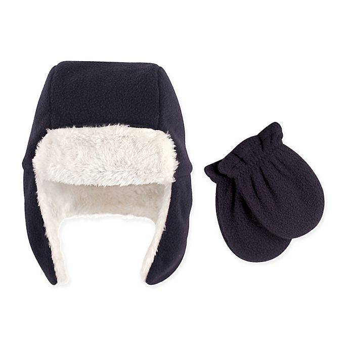 Alternate image 1 for Hudson Baby 2-Piece Trapper Hat and Mitten Set in Navy