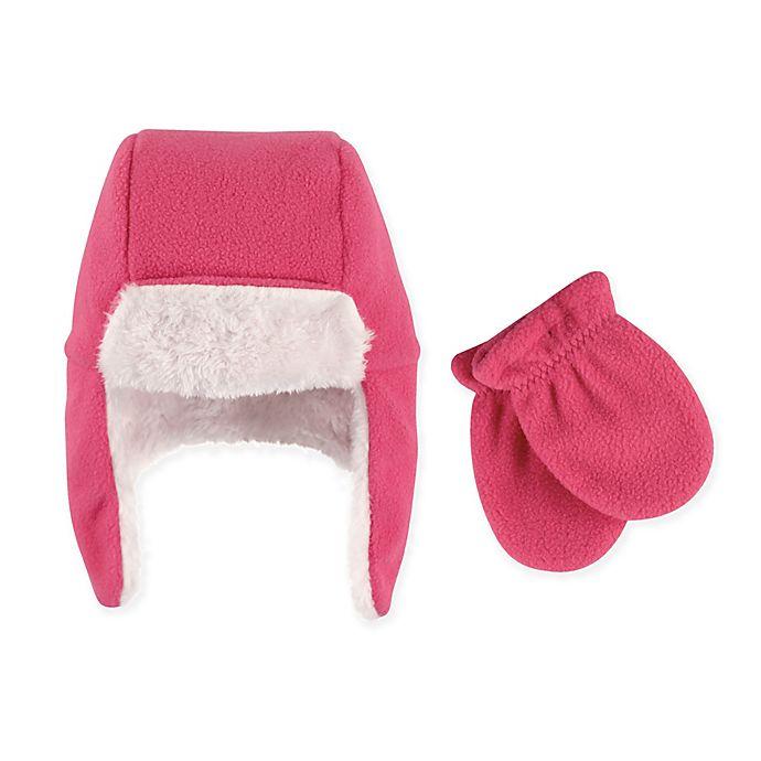 Alternate image 1 for Hudson Baby 2-Piece Trapper Hat and Mitten Set in Dark Pink