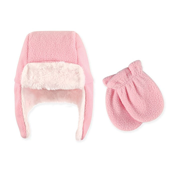 Alternate image 1 for Hudson Baby 2-Piece Trapper Hat and Mitten Set in Light Pink