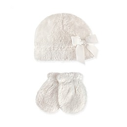 Hudson Baby 2-Piece Sherpa Bow Hat and Mitten Set in Washed White