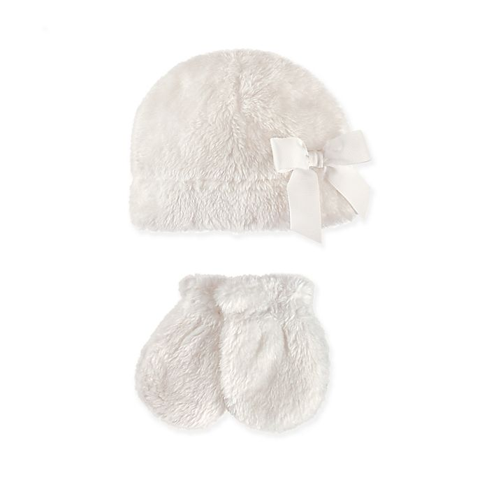 Alternate image 1 for Hudson Baby 2-Piece Sherpa Bow Hat and Mitten Set in Washed White