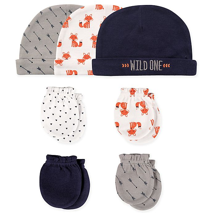 Alternate image 1 for Hudson Baby® 7-Piece Fox Cap and Mitten Set in White/Grey